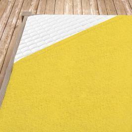 Napínací froté prostěradlo žluté Jednolůžko Bavlna - froté