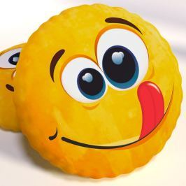 Dekorační polštář smajlík Lucas 40x40 cm žlutá