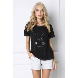 Dámské pyžamo Cat Woman krátké  černá/šedá