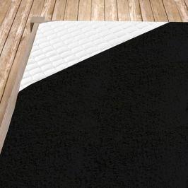 Napínací froté prostěradlo černé Jednolůžko Bavlna - froté