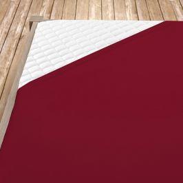 Napínací jersey prostěradlo bordó Jednolůžko Bavlna - jersey