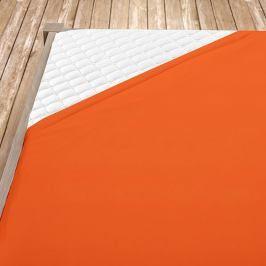 Napínací jersey prostěradlo oranžové Dvoulůžko Bavlna - jersey