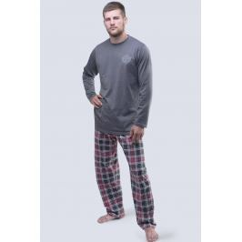 Pánské pyžamo 1977 dlouhé  tmavěšedá