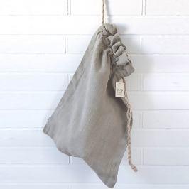 Pytel na prádlo lněný šedý 40x60 cm šedá
