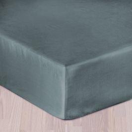 Saténové prostěradlo šedé 160x220 cm - bez gumy Bavlna - satén