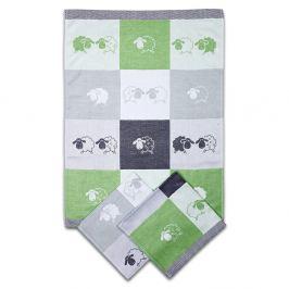 Set kuchyňských utěrek Ovečky zelený 50x70 cm bavlna