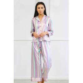 Saténové pyžamo Blanch dlouhé  zelenofialová