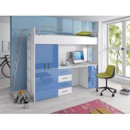 Dětská postel Ruby IV D (Bílá + Modrá) (s matrací a roštem)