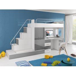 Dětská postel Ruby V (Bílá + Šedá) (s matrací a roštem)