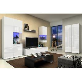 Obývací stěna Nivel IV (bílá + lesk bílý) (s osvětlením)