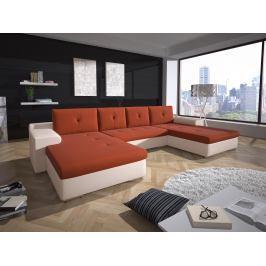 Rohová sedací souprava U Marlon (oranžová + bílá) (L)