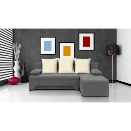 Rohová sedací souprava Saline šedá + krémové polštáře (1 úložný prostor, bonel)