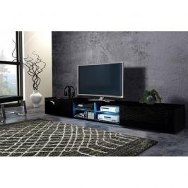 TV stolek/skříňka Best dvojitý (černá + lesk černý)