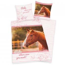 Herding povlečení Kůň růžová 140x200, 70x90