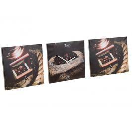 Home collection Home collection Sada obrazů s hodinami - motiv kávy 3x 30x30 cm - Varianta se šálkem a mlýnkem