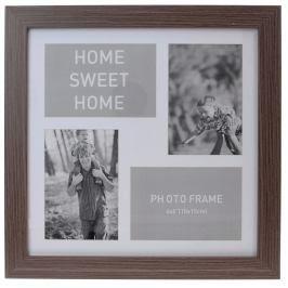 Home collection Rám na 4 fotky 37x37 cm tm. hnědá