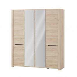 Dvoudvéřová šatní skříň v dubovém dekoru s dvojitým zrcadlem Szynaka Meble Desjo