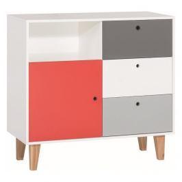 Bílo-šedá komoda s červeným detailem Vox Concept