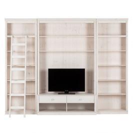 Bílá TV stěna z borovicového masivu Støraa Annabelle, šířka219cm