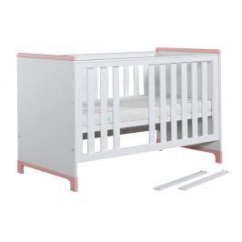 Bílo-růžová variabilní dětská postýlka Pinio Mini, 140x70cm