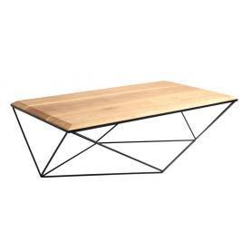 Konferenční stolek s černým podnožím a deskou z masivního dubu Custom Form Daryl, šířka140cm