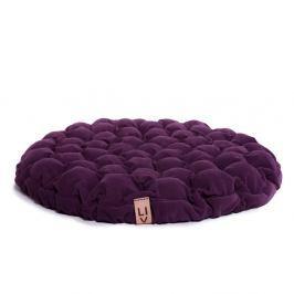 Fialový sedací polštářek s masážními míčky Linda Vrňáková Bloom, Ø75cm