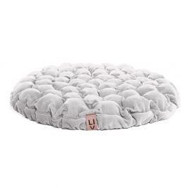 Bílý sedací polštářek s masážními míčky Linda Vrňáková Bloom, ø75cm
