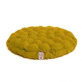 Hořčicový sedací polštářek s masážními míčky Linda Vrňáková Bloom, ø65cm