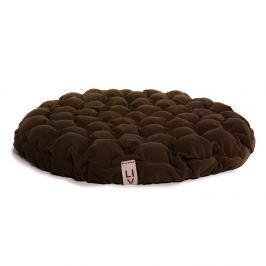 Tmavě hnědý sedací polštářek s masážními míčky Linda Vrňáková Bloom, Ø75cm