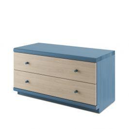 Modrá komoda z masivního dubového dřeva se 2 zásuvkami JELÍNEK Amanta