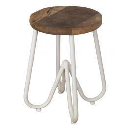 Odkládací stolek s deskou z mangového dřeva s bílým podnožím HSM collection, ⌀38cm