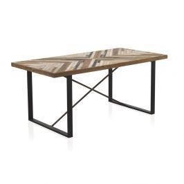 Jídelní stůl s kovovými nohami a deskou z recyklovaného dřeva Geese, 180 x 90 cm