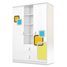 Bílá dvoudveřová šatní skříň se zásuvkami Faktum Lolly