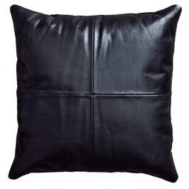 Černý kožený polštář Fuhrhome Athens, 45x45cm