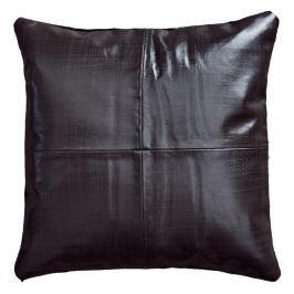 Tmavě hnědý kožený polštář Fuhrhome Rabat, 45x45cm
