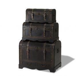 Sada 3 dřevěných dekorativních truhlic Furnhouse Trunks Shadow