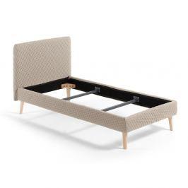 Béžová jednolůžková čalouněná postel La Forma Lydia Dotted, 90 x 190 cm