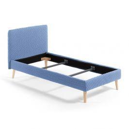 Modrá jednolůžková čalouněná postel La Forma Lydia Dotted, 90 x 190 cm