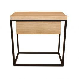 Černý noční stolek s deskou z dubového dřeva take me HOME Moonlight, 50x30cm