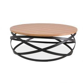 Odkládací stolek s efektní konstrukcí z černě lakované oceli Signal Lucca, ⌀80cm