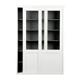 Bílá dřevěná skříň s pojízdnými dveřmi WOOOD Vince