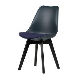 Sada 2 tmavě modrých židlí s nohami z borovicového dřeva De Eekhoorn Stan