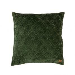 Sametový zelený bavlněný polštář De Eekhoorn Cherish, 50x50cm