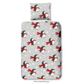 Dětské bavlněné povlečení na jednolůžko Good Morning Pinguins, 140 x 200 cm