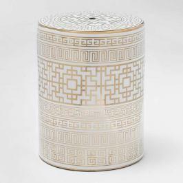 Bílo-zlatá keramická stolička Thai Natura Quano, 33 x 43 cm