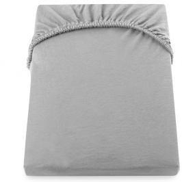 Ocelově šedé elastické bavlněné prostěradlo DecoKing Amber Collection, 220-240 x 200 cm