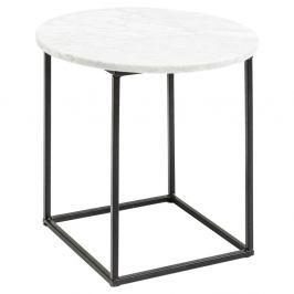 Odkládací stolek z kovové konstrukce s bílou mramorovou deskou Kare Design