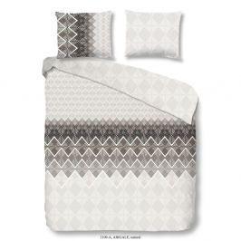 Šedo-hnědé povlečení na dvoulůžko z bavlněného saténu Muller Textiels Premento Abigale, 200 x 200 cm