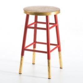 Stolička s červenou konstrukcí a detaily ve zlaté barvě Thai Natura