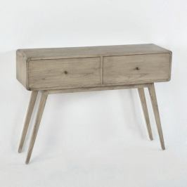 Šedý konzolový stolek z lakovaného dřeva borovice Thai Natura Helper, 120 x 86 cm